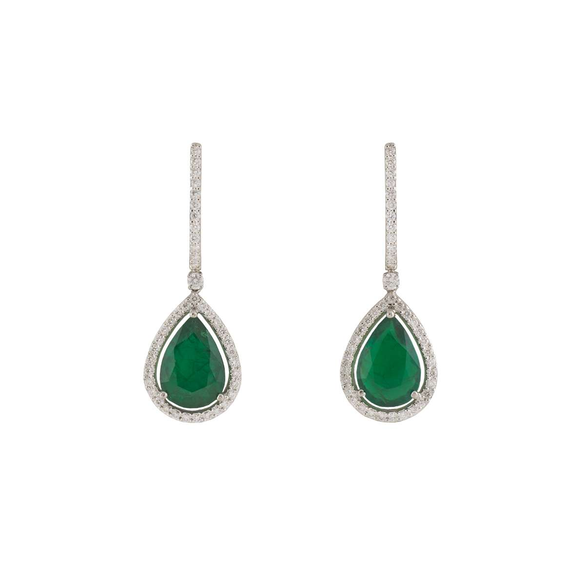 18k White Gold Emerald and Diamond Drop Earrings 7.57ct